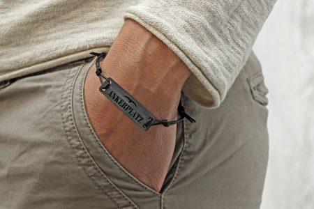 Design Armband Outdoor MEERE Ostsee Nordsee Holz Leder Geschenk Verpackung maritim