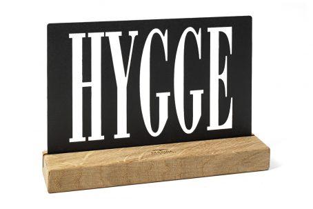 Design Schriftzug HYGGE Holz Eiche schwarz DEKO Wohnen Geschenk Verpackung