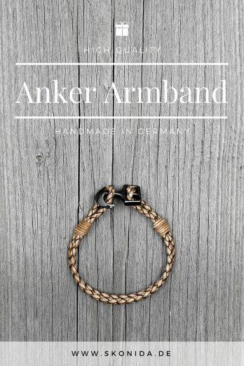 anker leder armband ankerarmband bjarne ankerverschluss braun geflochten schwarz hochwertig qualität handmad germany premium unisex damen herren skonida