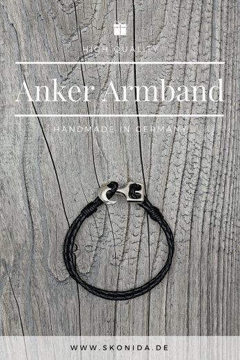 anker leder armband ankerarmband fiete ankerverschluss schwarz silber hochwertig qualität handmad germany premium unisex damen herren skonida