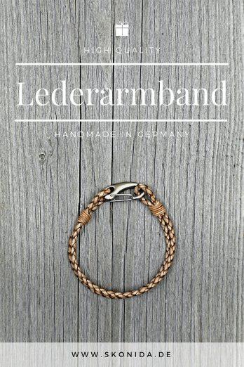leder armband lederarmband bent edelstahl verschluss geflochten braun silber hochwertig qualität handmad germany premium unisex damen herren skonida