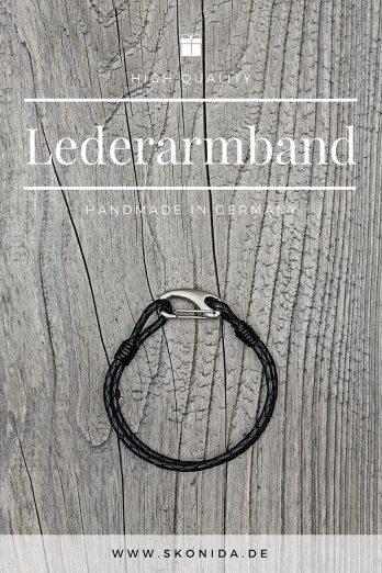 armband lederarmband sten design leder geflochten braun silber qualität handmade geschenk geschenkidee geschenkbox premium hochwertig qualität einzigartig skonida