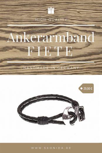 anker ankerarmband anker lederarmband echtleder armband schwarz silber handmade qualität geschenk geschenkidee geschenkbbox geschenkverpackung geburtstagsgeschenk unisex damen herren skonida