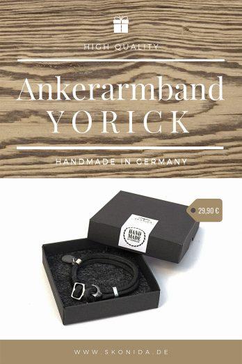 anker ankerarmband anker lederarmband echtleder armband schwarz handmade qualität geschenk geschenkidee geschenkbbox geschenkverpackung geburtstagsgeschenk unisex damen herren skonida