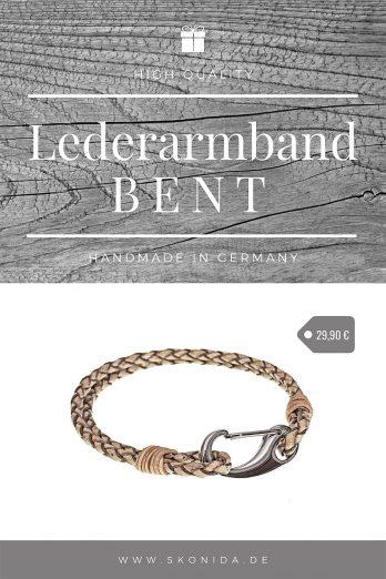 armband lederarmband bent edelstahl verschluss geflochten braun silber hochwertig qualität handmad germany premium skonida