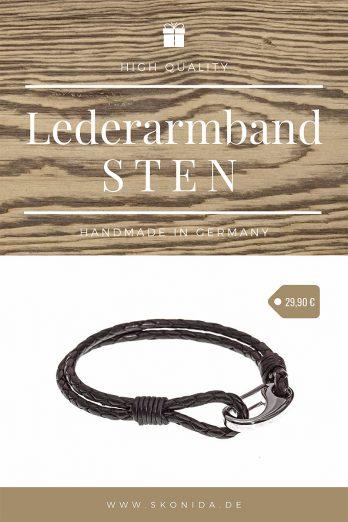 armband lederarmband sten edelstahl verschluss geflochten schwarz silber hochwertig qualität handmad germany premium skonida
