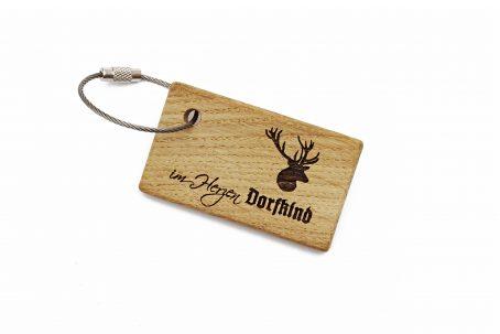 Schlüsselanhänger Schlüsselring Edelstahlseil Holz Eiche Natur Gravur Handmade Germany handgefertigt Geschenk Geschenkidee Geschenkbox Geburtstagsgeschenk DORFKIND auf dem Land Dorf Landlust