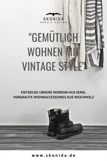Skonida NORDIC DESIGN skandinavisch HYGGE Holz Lagom Holzkiste grau Wandgarderobe