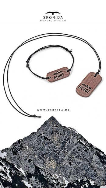 skonida armband holzarmband kette holzkette nussbaum optik leder alpin berge alpen bayern trachten trachtenmode accessoire schmuck bergschmuck