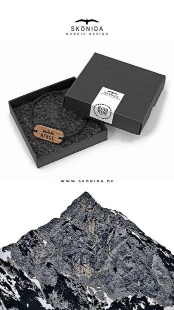 skonida nordic design armband holzarmband alpin berge alpen alm accessoire trachten trachtenmode bergschmuck bayern nussbaum gravur geschenk geschenkidee geschenkbox