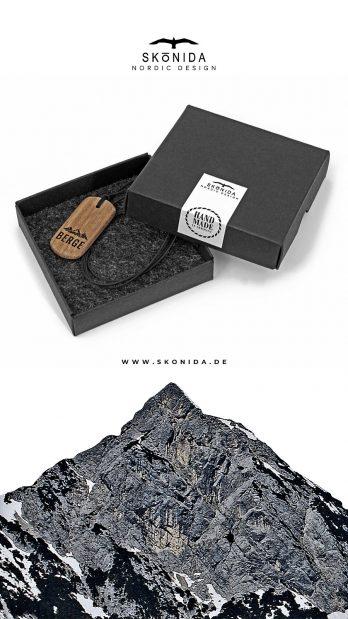 skonida nordic design kette holzkette alpin berge alpen alm accessoire trachten trachtenmode bergschmuck bayern nussbaum geschenk geschenkidee geschenkbox