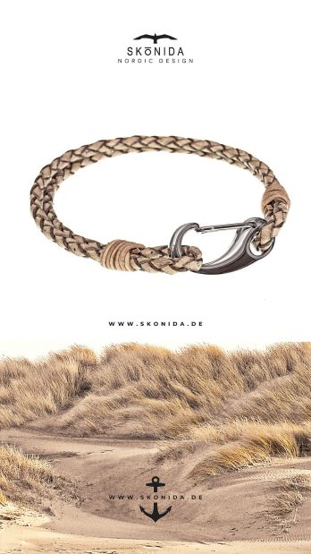 skonida nordic design armband bent schnapphaken edelstahl hellbraun handmade lederarmband