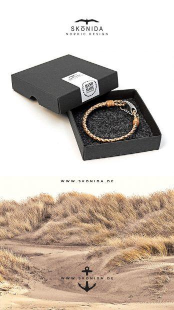 skonida nordic design ankerarmband schwarz anker bent geschenkbox geschenkverpackung geschenk handmade in germany handgemacht leder schwarz