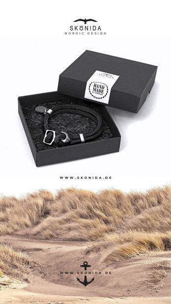 Lederarmband Leder Armband Anker Ankerarmband YORICK Geschenk Geschenkidee Geschenkbox