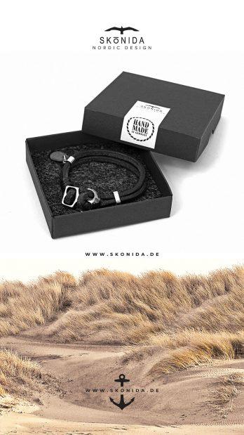 skonida nordic design ankerarmband schwarz anker yorick geschenkbox geschenkverpackung geschenk handmade in germany handgemacht leder schwarz
