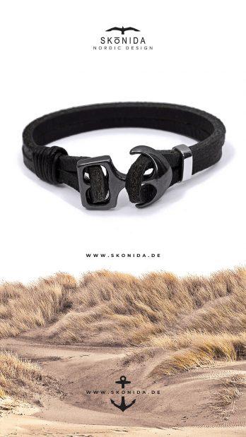 Lederarmband Leder Armband Anker Ankerarmband YORICK Geschenk Geschenkidee Geschenkboxv