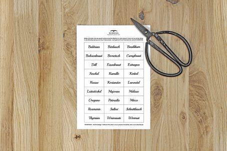 kräuterkiste kräuterkasten Kräuterliste bogen auschneiden etikettenrahmen kräuter beschriften