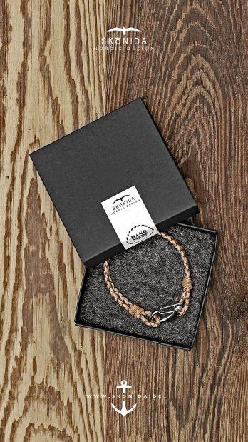 skonida nordic design armband schnapphaken lederarmband braun silber edelstahl handmade in germany geschenkbox geschenkidee geschenk