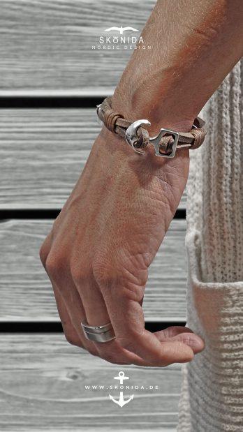 skonida nordic design ankerarmband keno braun grau silber nordisch nordische gelasenheit handgelenk maritimer schmuck
