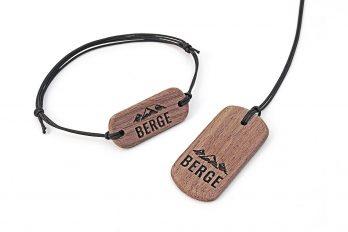 Armband & Kette mit Gravur BERGE aus Holz in Geschenkbox