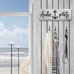 ANKERPLATZ Schild aus Holz – maritime Wand-Deko im Treibholz-Look – ANKERPLATZ Schriftzug für maritime Einrichtung