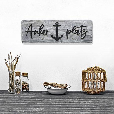 ankerplatz schild schriftzug ankerplatz-schriftzug anker-deko holzdeko wand-deko maritimes-wandschild ankerplatz-deko treibholz look freienhaus einrichtung