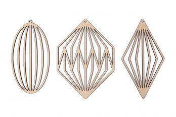 SKONIDA Design Christbaumschmuck aus Holz – elegante Skandi Holz-Deko im 3 er Set (Set A)