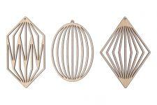 SKONIDA Design Weihnachtsschmuck aus Holz – edle nordische Holzdeko im 3 er Set (Set B)