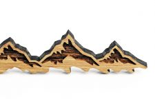 Partner Schlüsselanhänger aus Holz – Freundschaft Anhänger BERGE 2 er Set Holz hell & dunkel–für Pärchen in Geschenk-Box