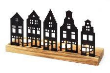 SKONIDA moderne Holz-Krippe – Winter Teelichthalter aus Holz – Design Lichtobjekt mit Stadt-Silhouette für Advent