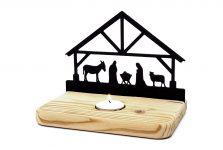 Weihnachts-Krippe aus Holz CASPAR – für Teelicht – schöne Geschenkidee – Holz-Deko zur Advents- und Weihnachtszeit