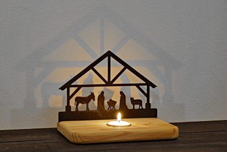 Weihnachtskrippe Holzkrippe Tischkrippe Krippe Teelicht Deko-Advent Deko-Weihnachten Maria Josef Esel Schaf Holz-Deko Weihnachtsdeko Weihnachtspyramide Weihnachtsdorf Krippenstall Krippenfigur Deko-Weihnachtskrippe Geschenk Geschenkidee Advent-Deko