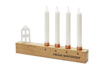 Kerzenständer Weihnachten aus Holz – mini Kerzenhalter für 4 Baumkerzen – Alternative zum Adventskranz – Farbe Eiche