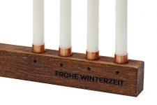 Kerzenständer Weihnachten aus Holz – mini Kerzenhalter für 4 Baumkerzen – Alternative zum Adventskranz – Farbe Nussbaum