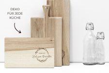 Deko Schneidebrett mit Oliven-Kranz – Holzschneidebrett massiv mit Gravur – Brotzeitbrett aus Holz 30×18 cm für Genießer