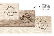 Langes Schneidebrett Holz aus mit Griff – schönes Deko Baguette-Brett mit Gravur – Servierbrett 15×50 cm für Genießer