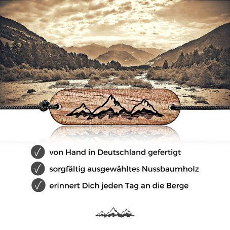 skonida alpin design holzarmband berg-armband bergsteiger-armband berg-schmuck holz-schmuck outdoor gravur berge alpen freundschaftsarmband holzschmuck geschenkidee partner
