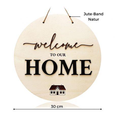 Welcome Home Türschild aus Holz zum Aufhängen - modernes Landhaus Deko Holz-Schild mit 3D Schrift-Zug