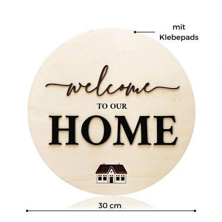 Welcome Türschild aus Holz zum Aufkleben - modernes Welcome Home Türschild aus Holz zum Aufhängen - modernes Landhaus Deko Holz-Schild mit 3D Schrift-Zug Landhaus Deko Holz-Schild mit 3D Schrift-Zug